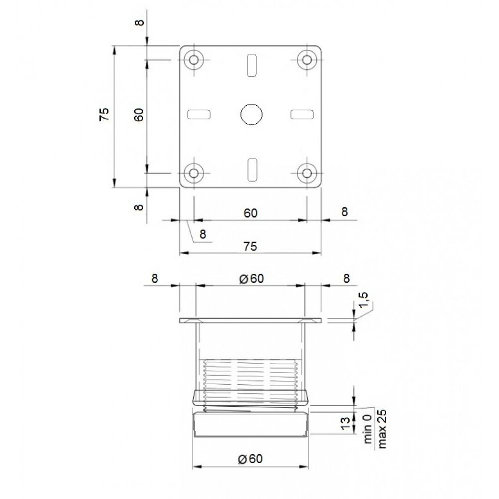 Ніжка меблева регульована РМ 3260 - 7 см, сатин