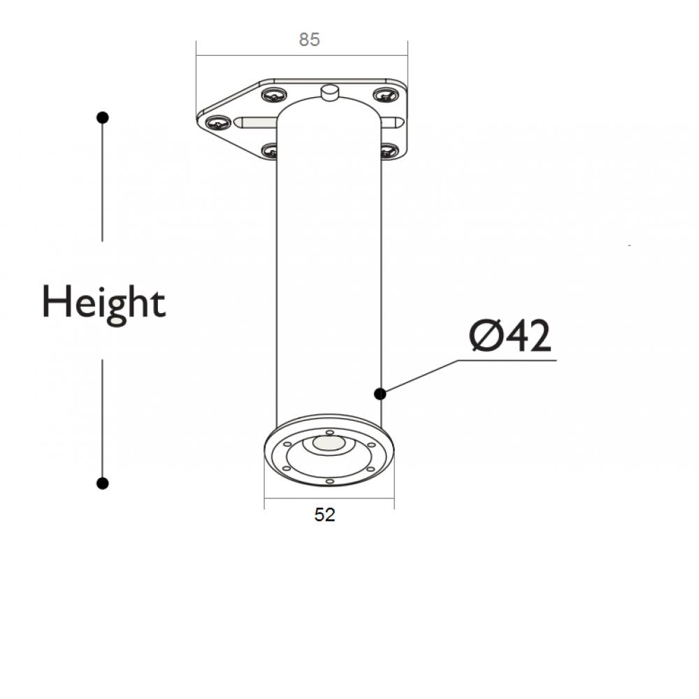 Ніжка меблева регульована ″Циліндр″ D=42 мм, Н=100 мм, матовий хром
