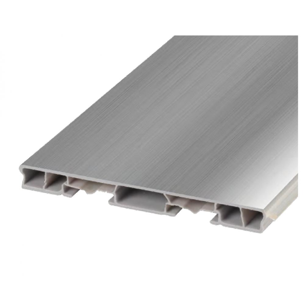 Цоколь пластиковый гладкий 100 мм, L = 3660 мм, алюминий