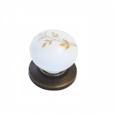 Мебельная ручка 6073 - кнопка, бронза / колос