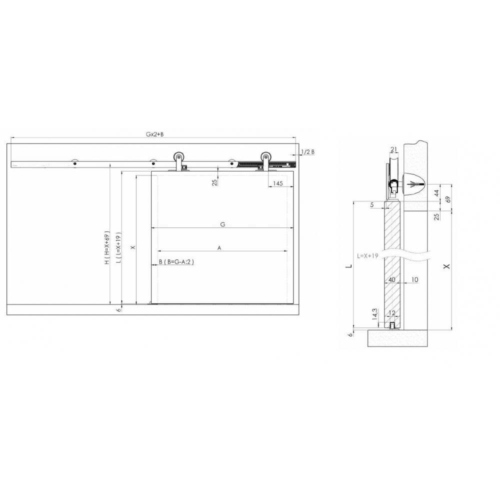 Розсувна система VENUS 01 для міжкімнатних дверей