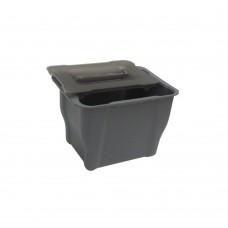 Ведро мусорное с прозрачной крышкой, пластик  серое