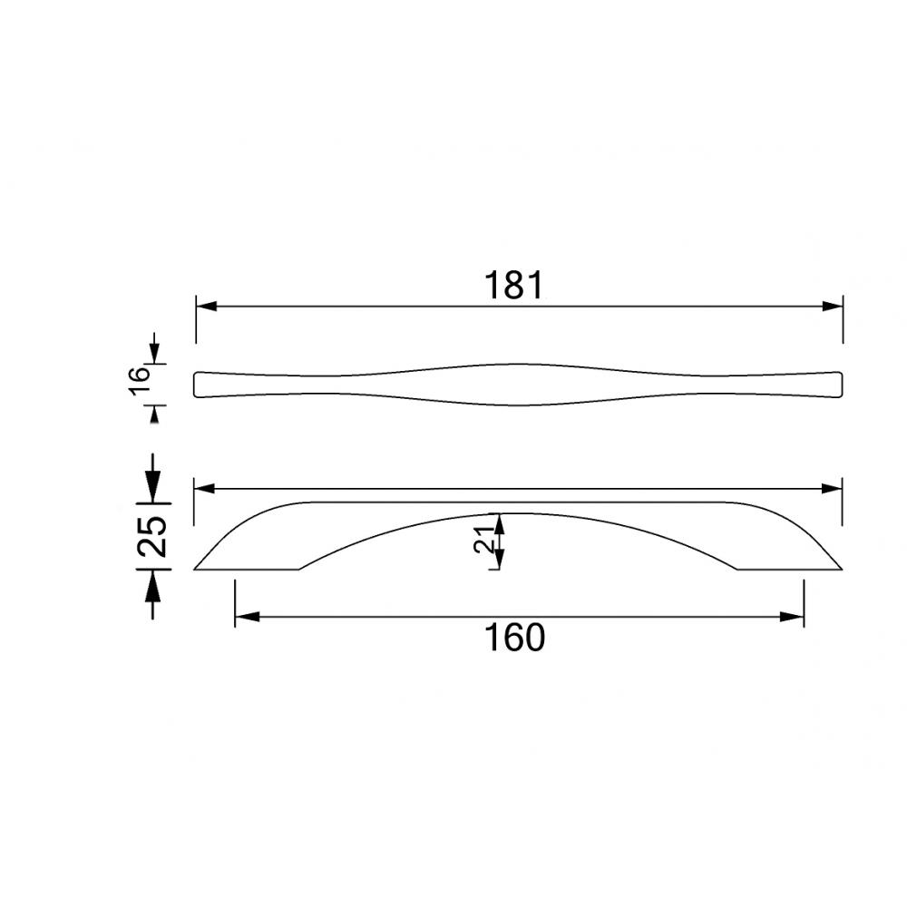 Ручка мебельная HS 291 - 160 мм, хром